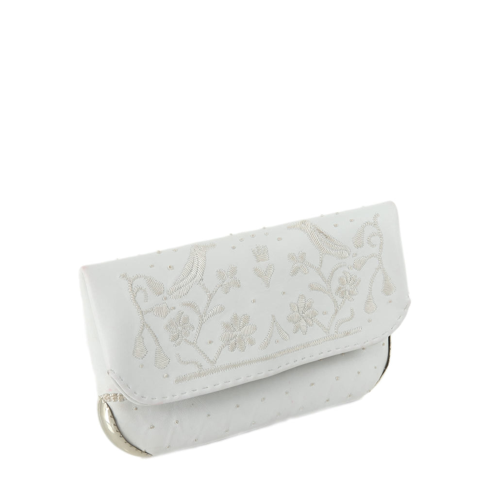 side view of handmade eco friendly white leather abury wedding clutch bag