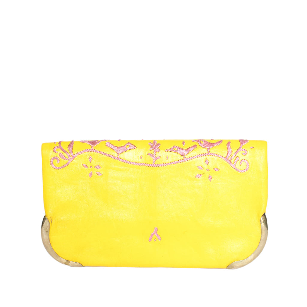 back side yellow and rose abury lovebirds clutch bag