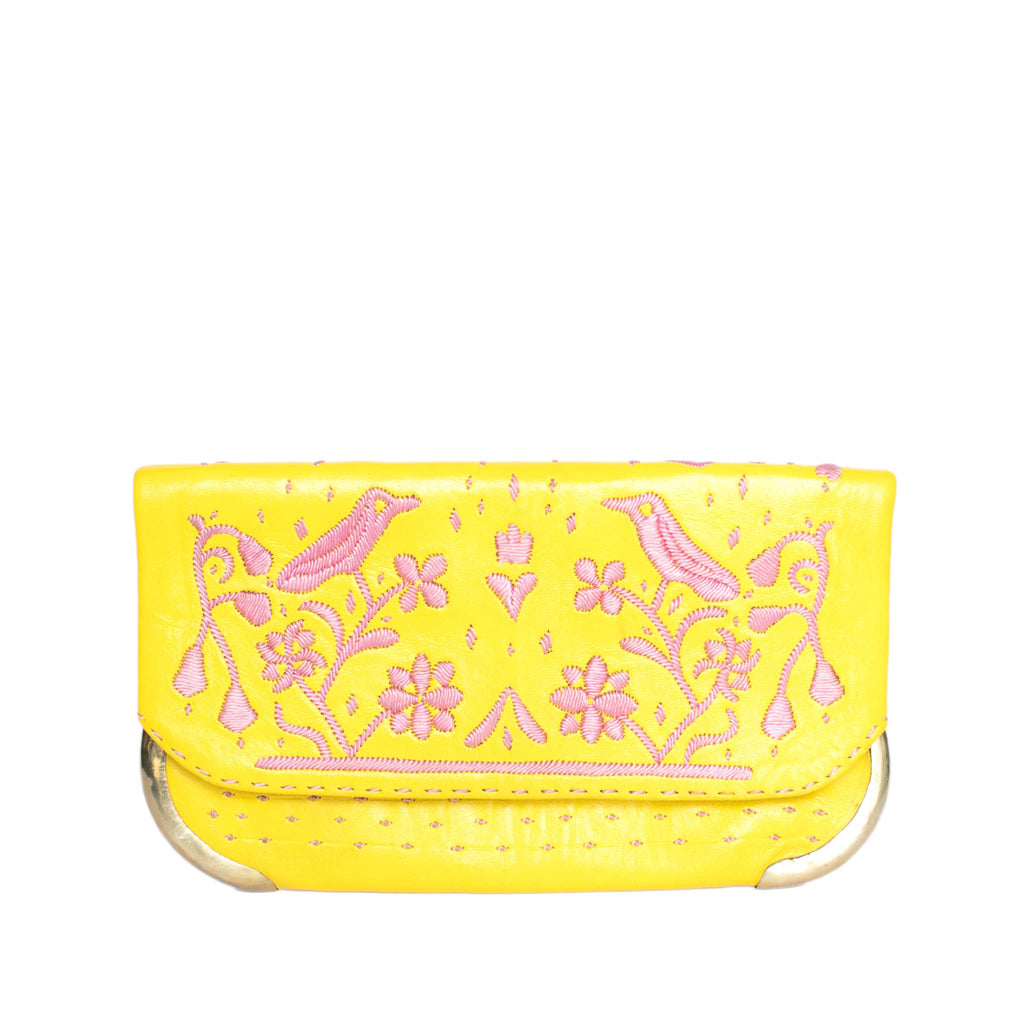 front view yellow and rose abury lovebirds clutch bag
