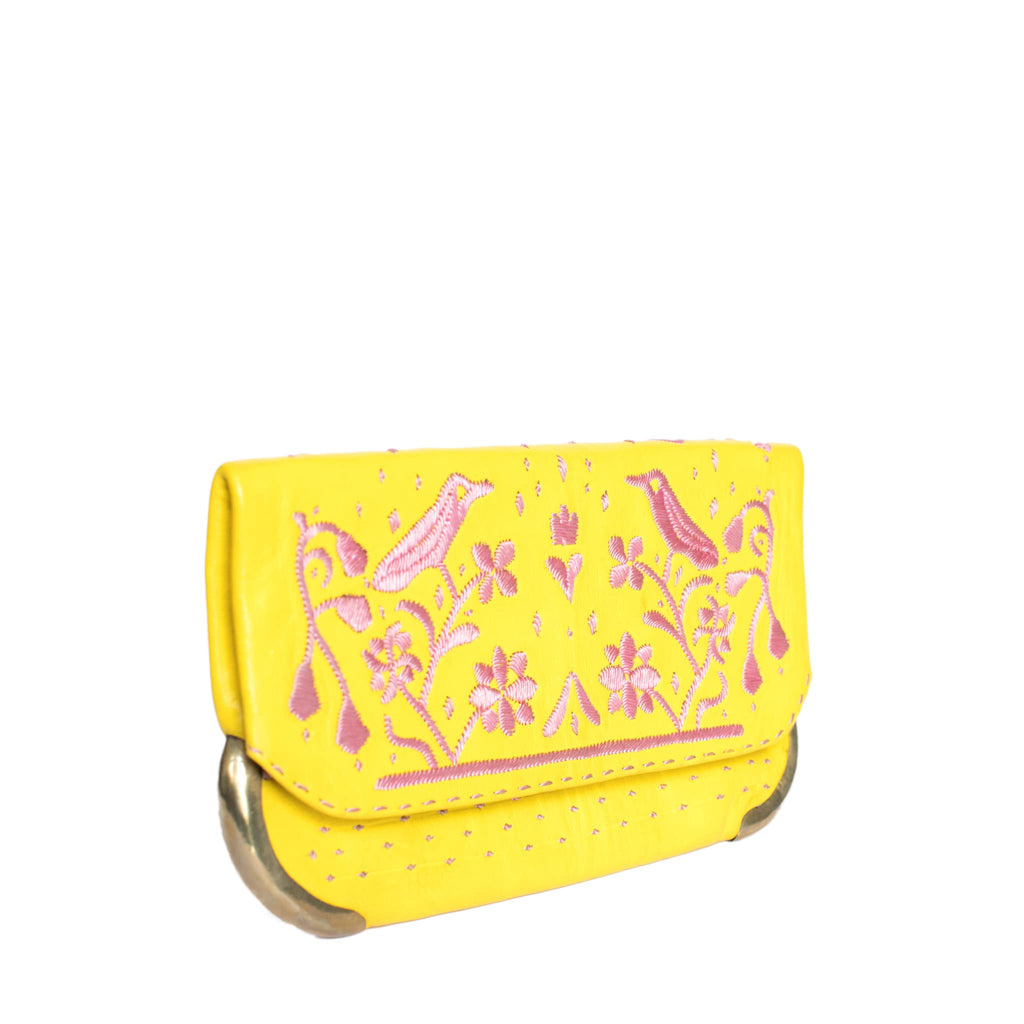 side view yellow and rose abury lovebirds clutch bag