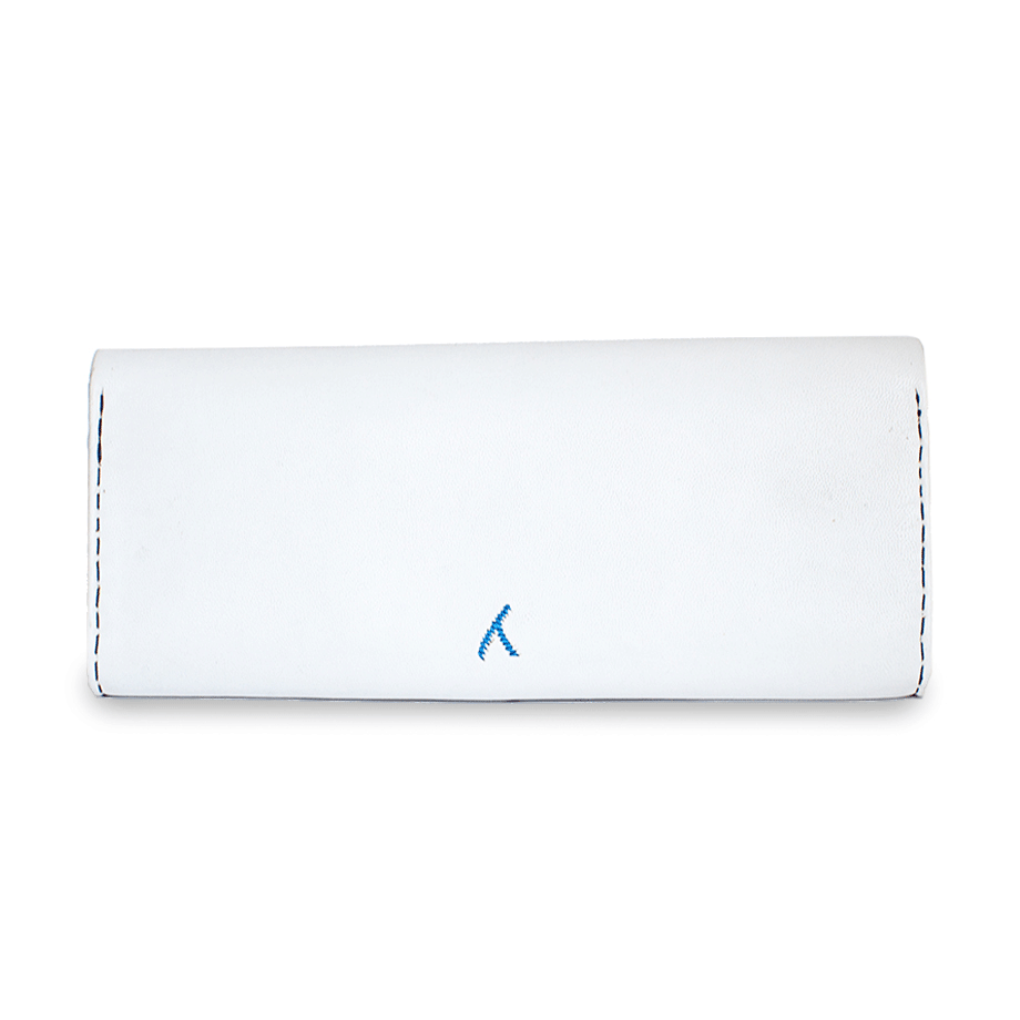 White and Blue Leather Clutch Bag packshot back