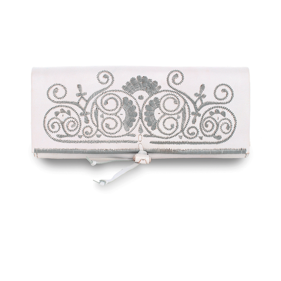 White and Purple Leather Clutch Bag packshot front