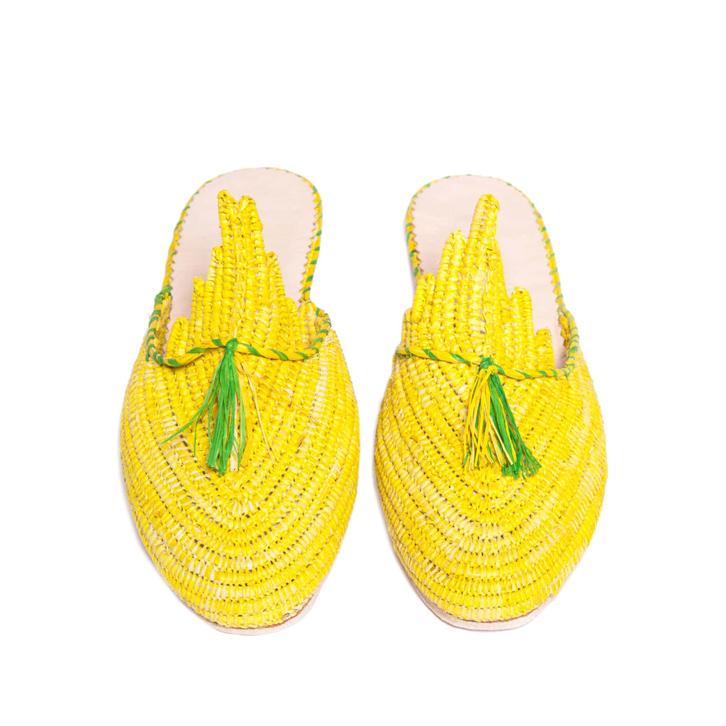 front side abury yellow and green raffia summer slippers with tassel