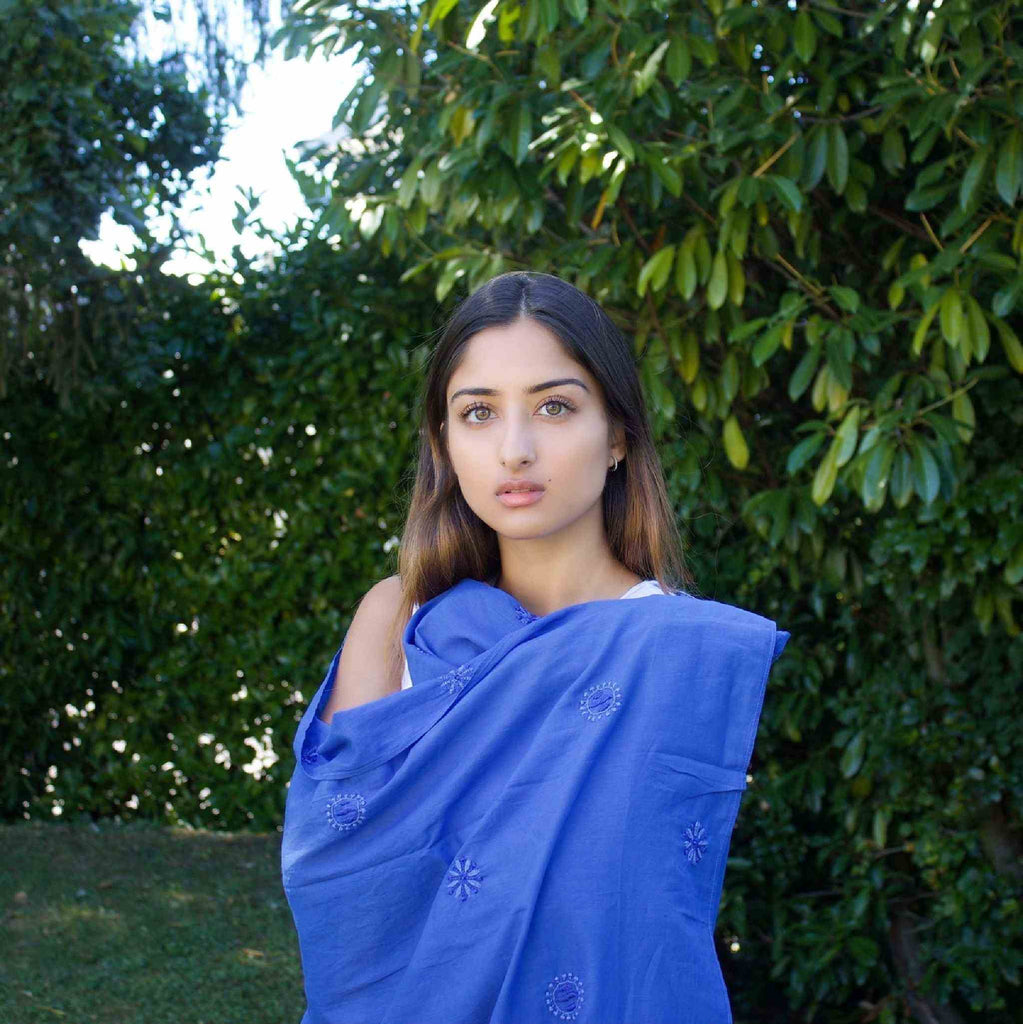 Hand embroidered Cotton Shawl in Sailor Blue by Pink Maharani