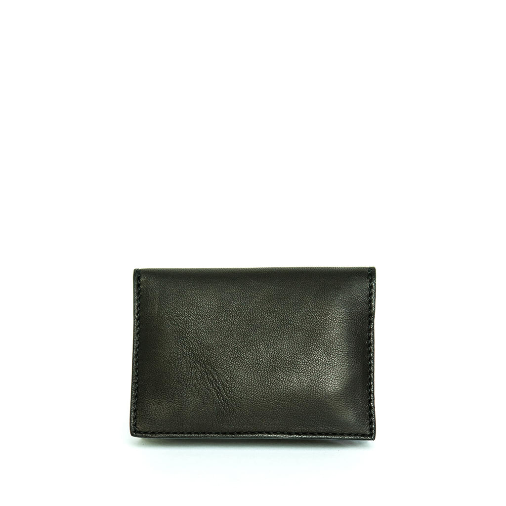 Back View Black Leather Business Card Holder - Card Holders - ABURY Collection