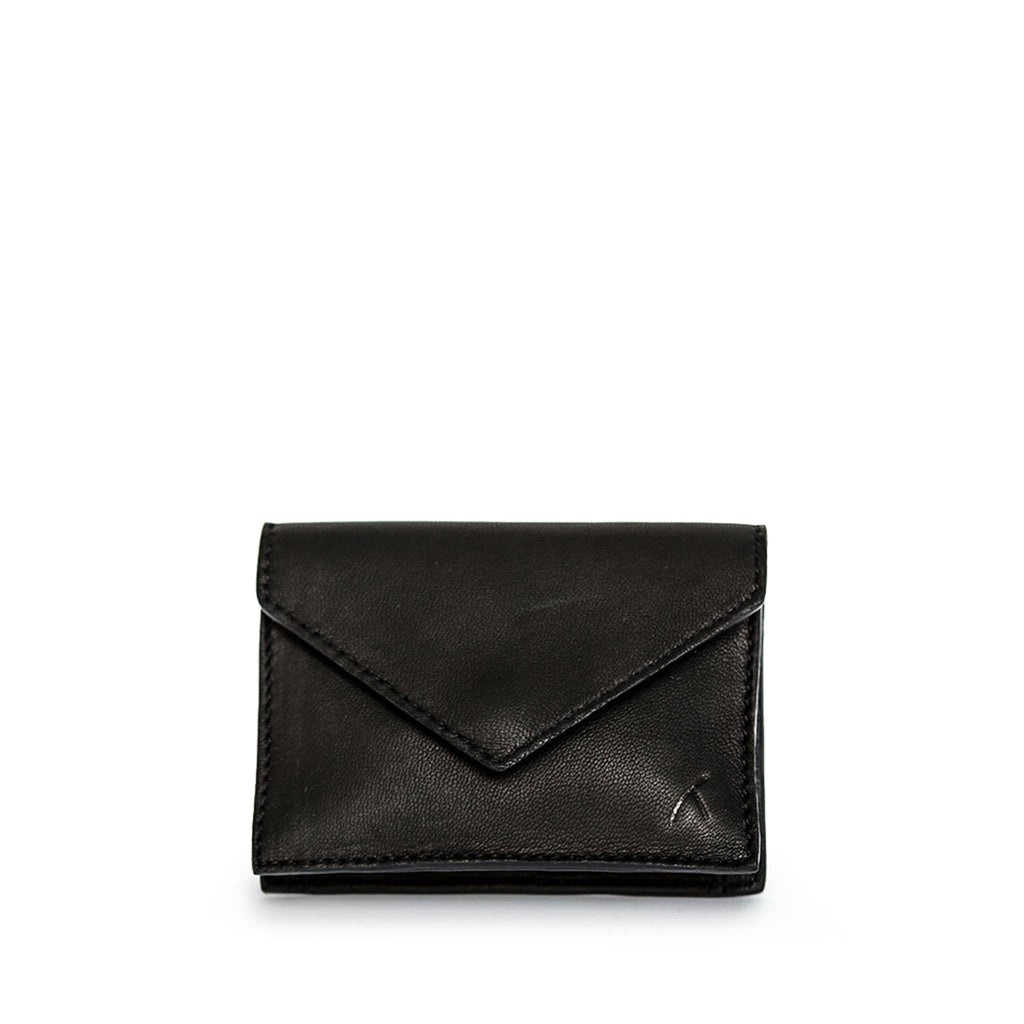 Front View Black Leather Business Card Holder - Card Holders - ABURY Collection