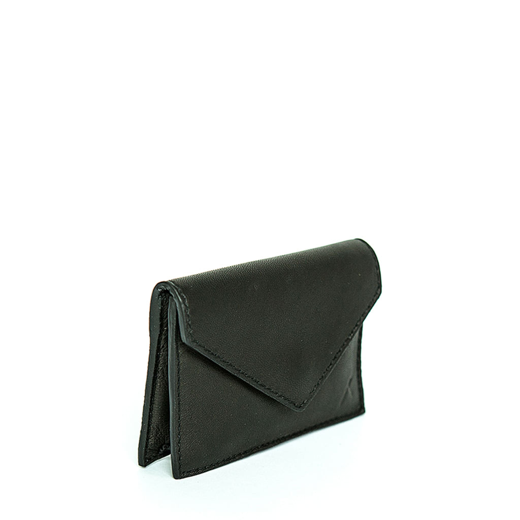 Side View Black Leather Business Card Holder - Card Holders - ABURY Collection