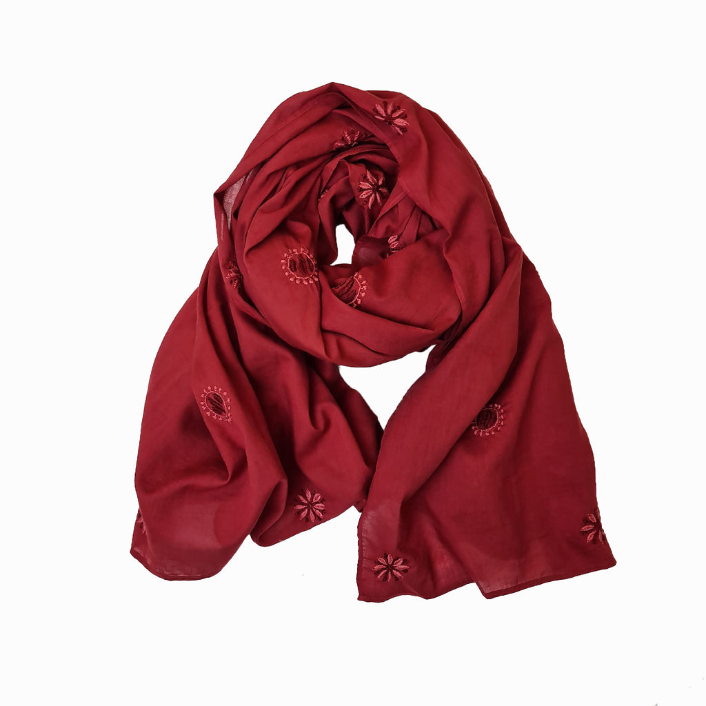 Hand Embroidered Cotton Shawl in Burgundy by Pink Maharani