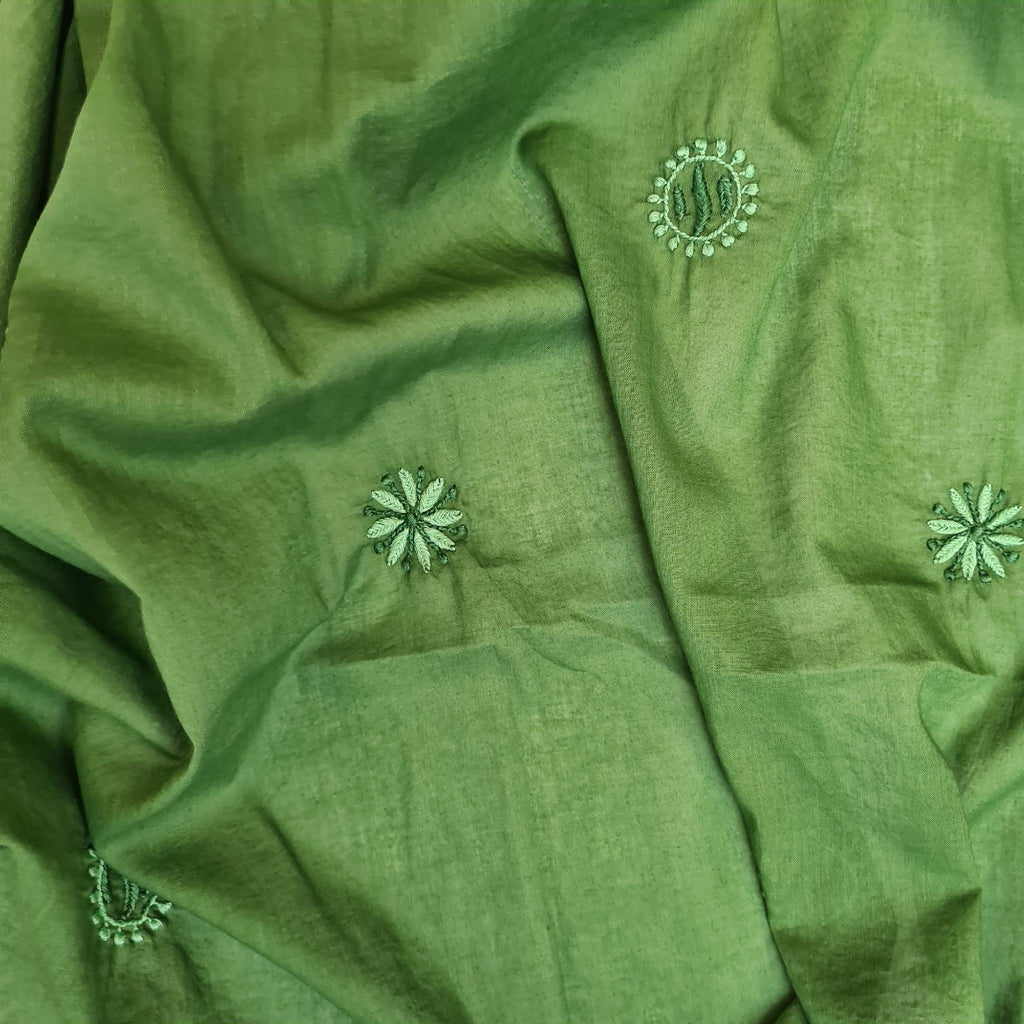 Hand Embroidered Cotton Shawl in Green by Pink Maharani