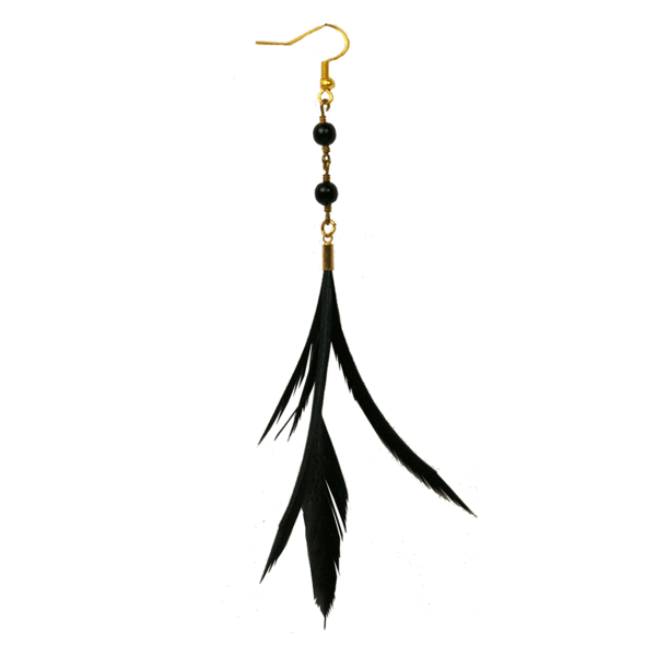 Black Lana Feather Earrings With Black Beads By Fiona Paxton