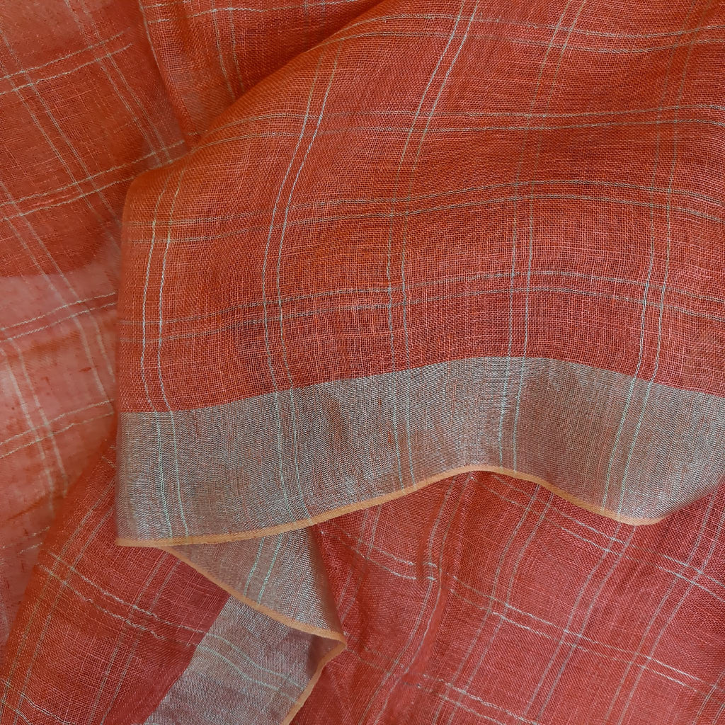 Handwoven 100% Linen Scarf in Coral by Pink Maharani
