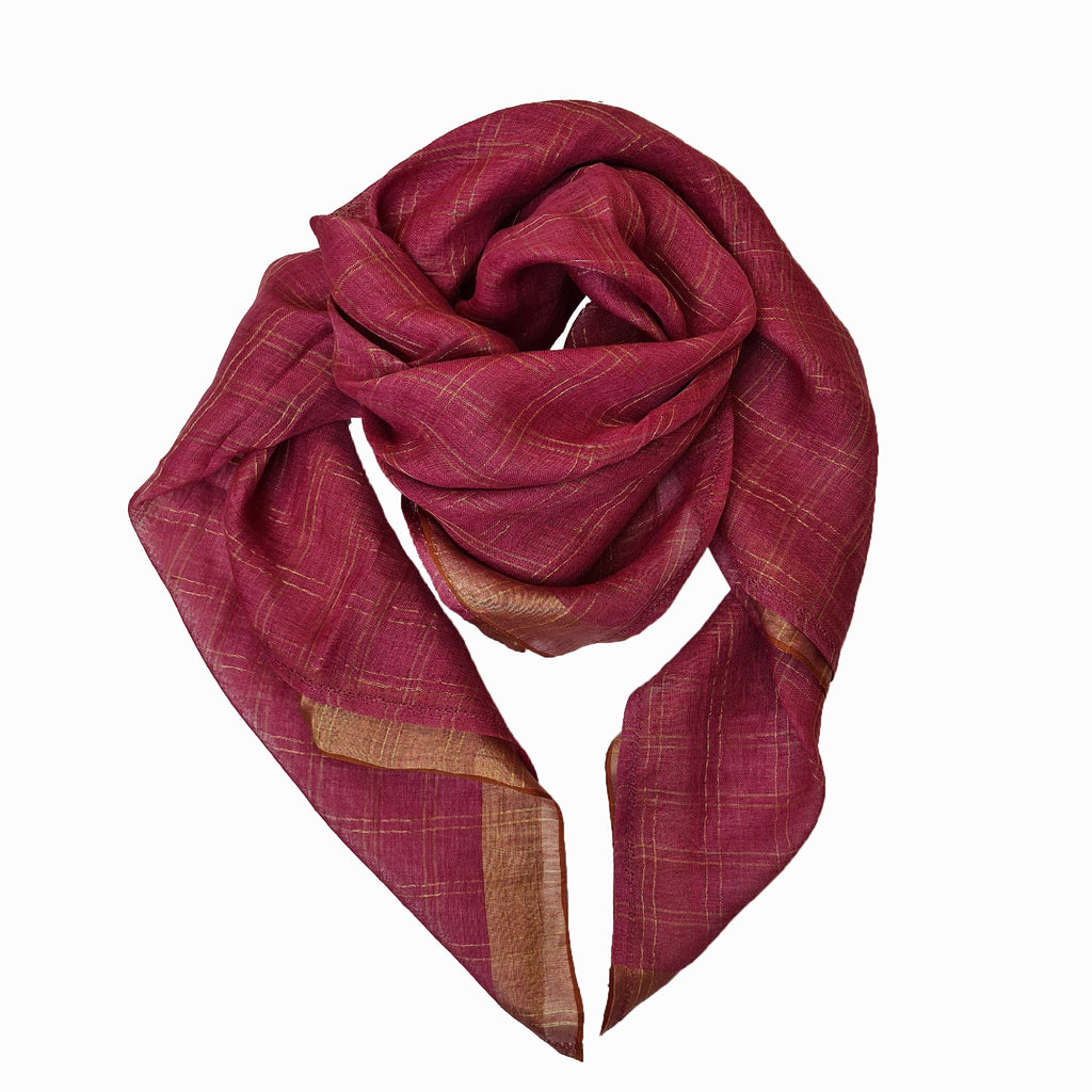 Handwoven 100% Linen Scarf in Pink by Pink Maharani