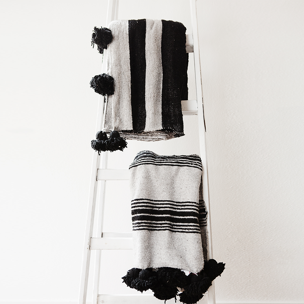 Black and Grey Striped Wool Throw - Throws - ABURY Collection