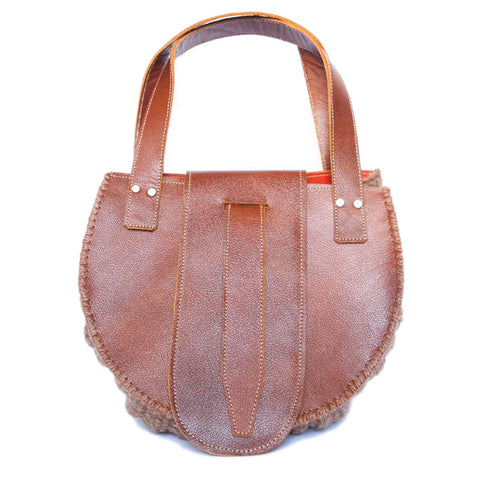 "Leather Mini Tote Bag ""Asmaa"" in Purple, Orange"