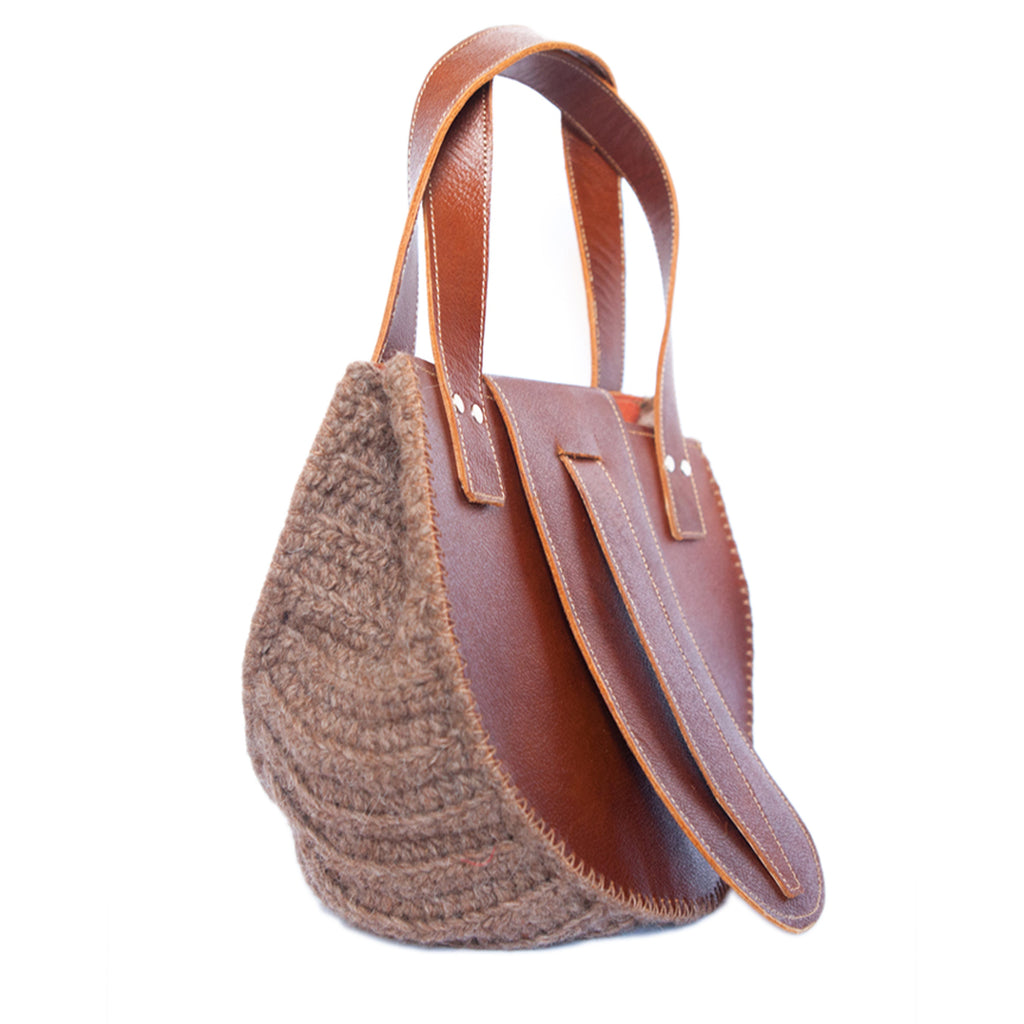 side view Wool and Leather Mini Handbag Anita