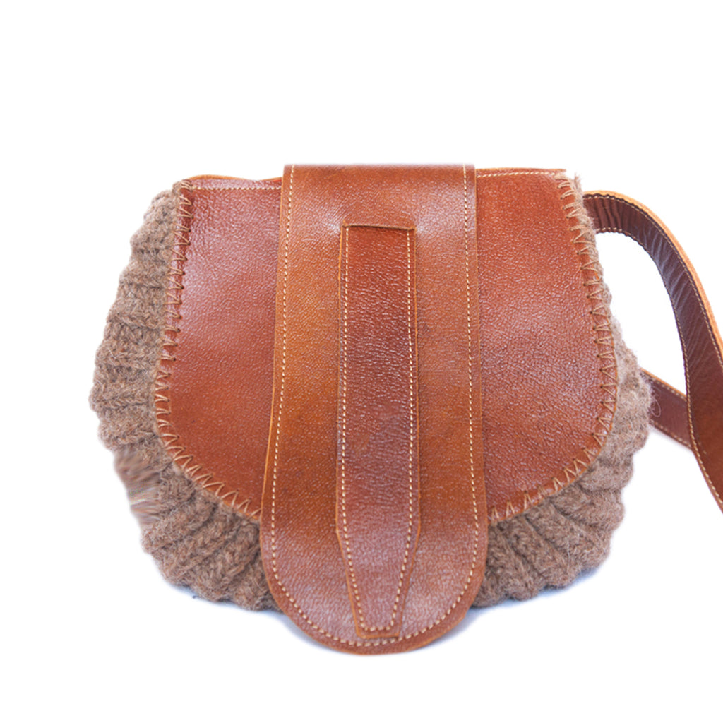 front view Wool and Leather Mini Shoulder Bag Gladys