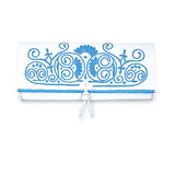 White and Blue Leather Clutch Bag