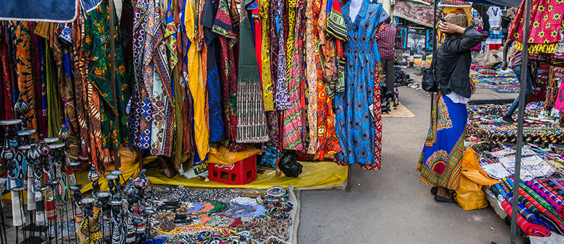 traditional textiles on a market in kenya
