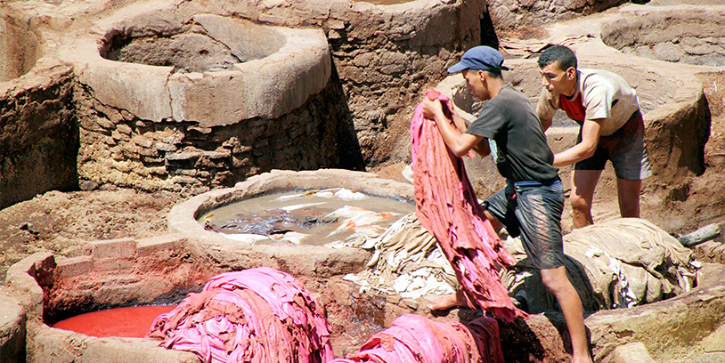 artisans dying leather in morocco