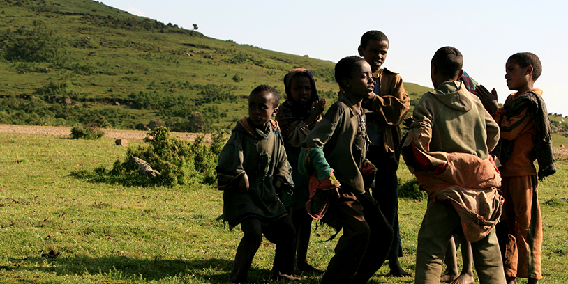 ethiopian children playing in the hills