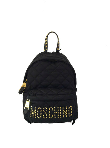 MOSCHINO Women's Studded Logo Patch Quilted Backpack