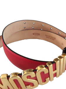 MOSCHINO Logo Adjustable Leather Belt