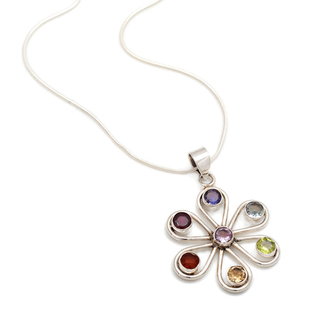 Silver Flower Chakra Necklace