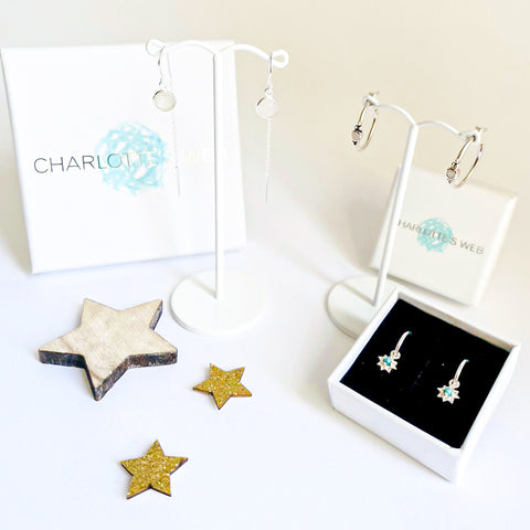 MOON AND STARS EARRING SET