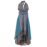 BLUE & PINK FLORAL Recycled Sari Silk High Lo Maxi Dress