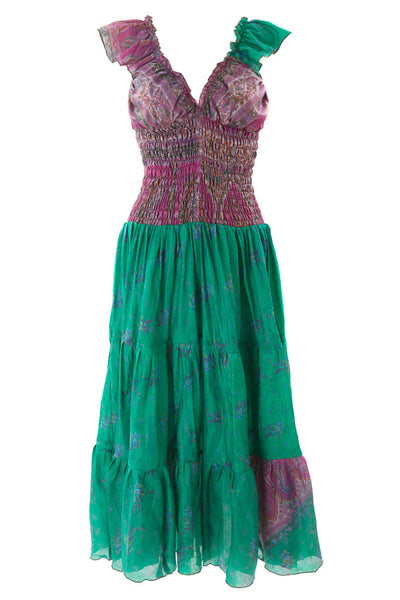 GREEN AND PINK Recycled Sari Silk Flamenco Dress