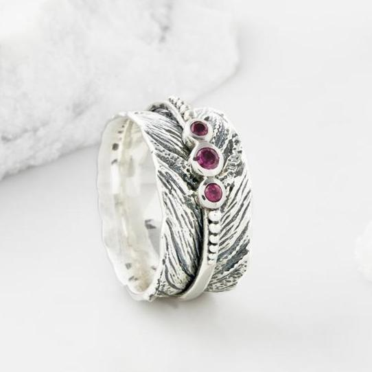 Feather Gemstone Spinning Ring