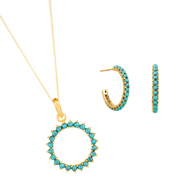 Halo Radiance Necklace and Earring Set - Gold
