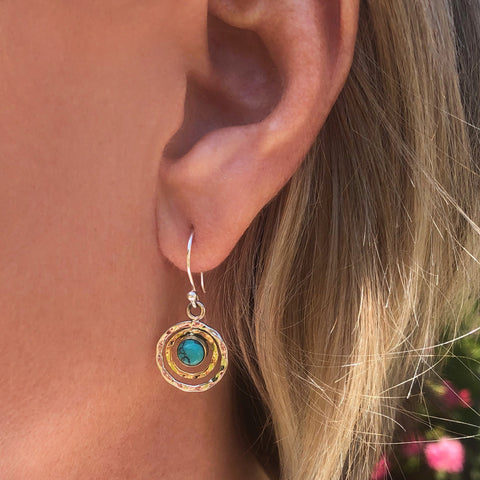 INFINITY UNIVERSE EARRINGS - TURQUOISE MIXED METAL