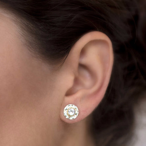 Gemstone Disc Stud Earrings