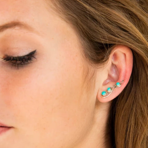 Turquoise Ear Climbers