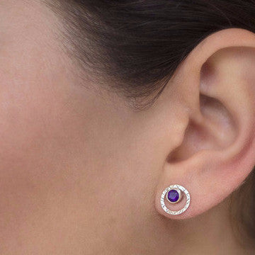 Amethyst Infinity Stud Earrings