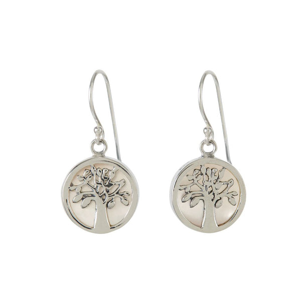 TREE OF LIFE HEALING EARRINGS - MOTHER OF PEARL