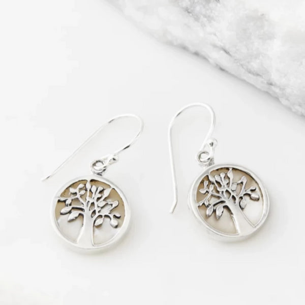 Tree of Life Drop Earrings Mother of Pearl