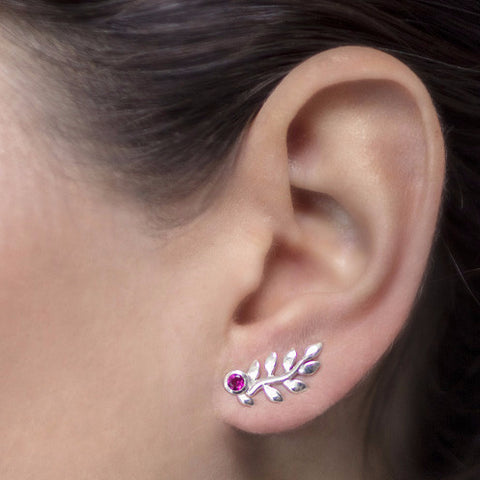 Gemstone Leaf Studs