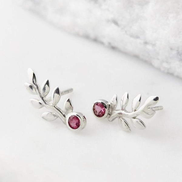 ENCHANTING GEMSTONE LEAF STUDS TOURMALINE