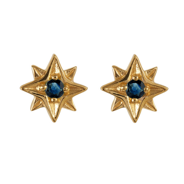 GUIDING NORTH STAR STUDS - GOLD & SAPPHIRE