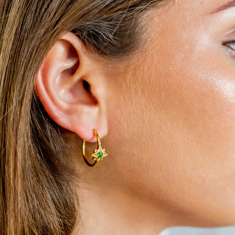 Guiding North Star Gold Emerald Hoop Earrings