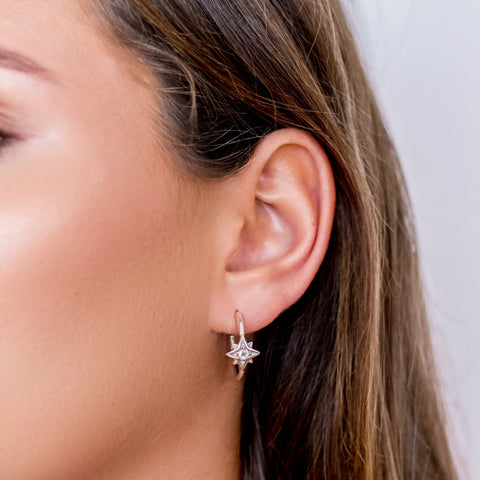 Guiding North Star Moonstone Hoop Earrings