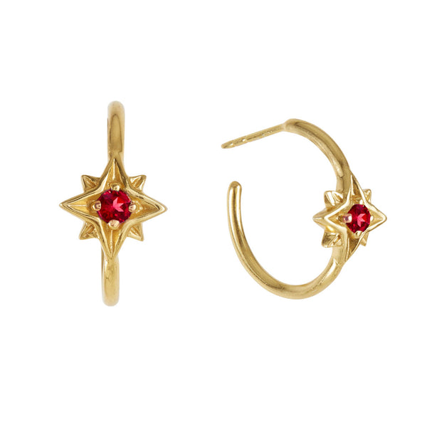 Guiding North Star Rhodolite Gold Hoop Earrings