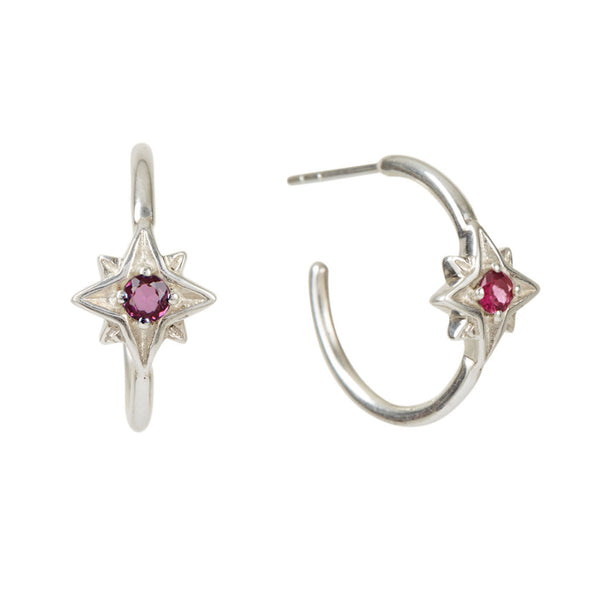 Guiding North Star Rhodolite Hoop Earrings