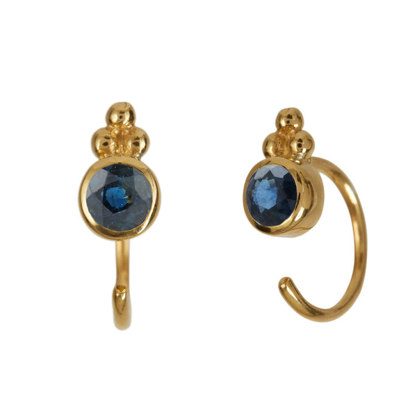 Sapphire Gold Huggie Earrings