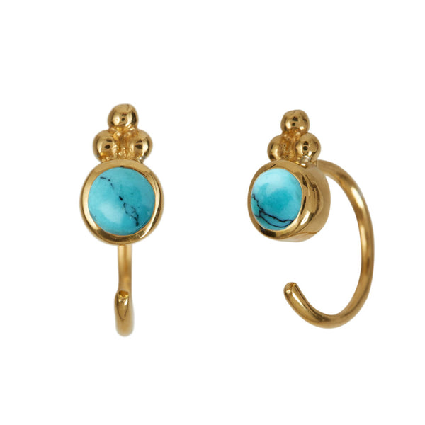 Turquoise Gold Huggie Earrings