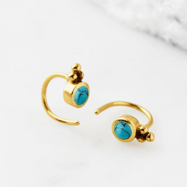 GOLD TURQUOISE EAR HUGGIES