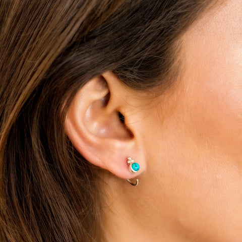 SILVER TURQUOISE EAR HUGGIES