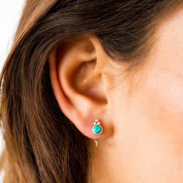 Turquoise Huggie Earrings
